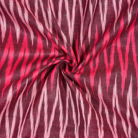 Maroon Pink and White Ikat Cotton Fabric-11086