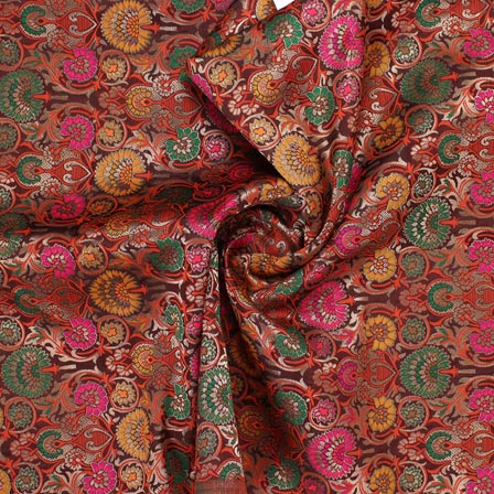 Maroon Pink and Yellow Floral Banarasi Silk Fabric-9313