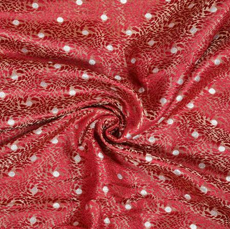 Maroon Silver Brocade Silk Polka Fabric-12955