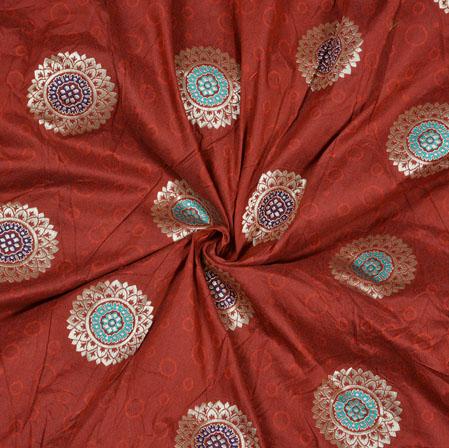 Maroon Silver Circle Banarasi Brocade SIlk Fabric-12762