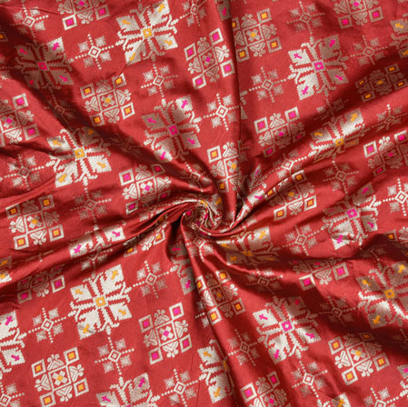 Maroon Silver Floral Banarasi Brocade SIlk Fabric-12763