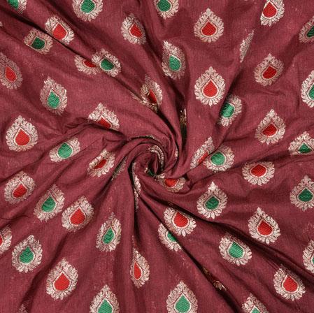 Maroon Silver Leaf Brocade Silk Fabric-12950