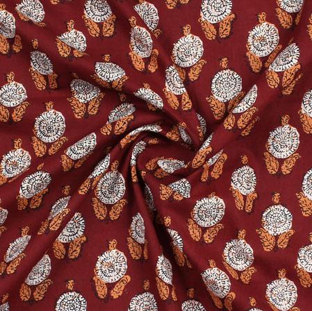 Maroon White Block Print Cotton Fabric-16019