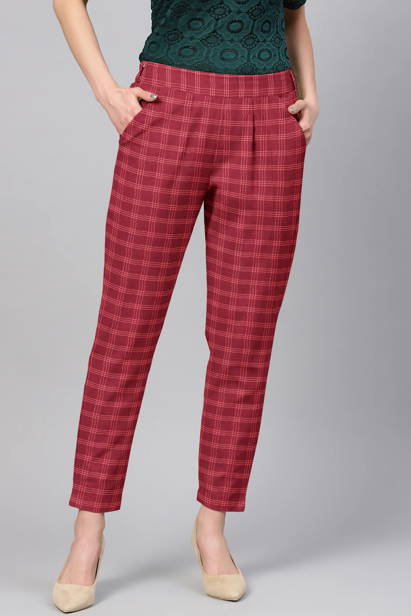 Maroon White Cotton Check Regular Fit Solid Trouser-36099