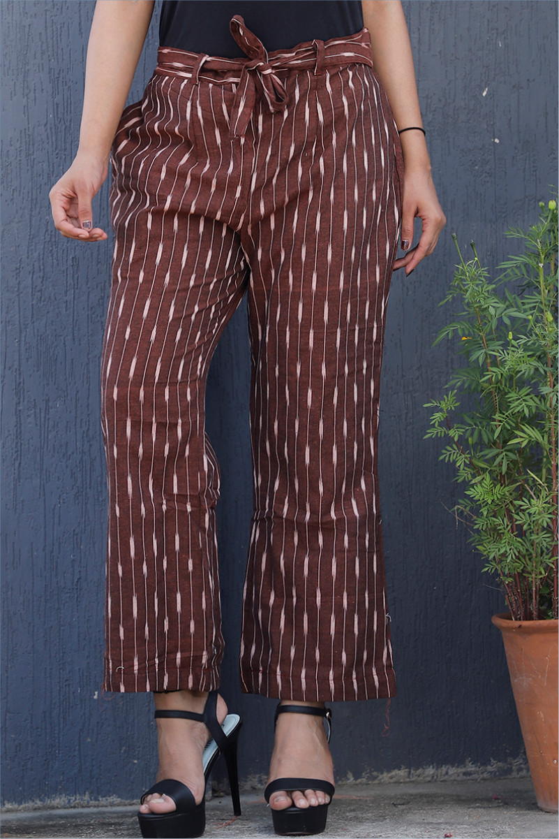 Maroon White Cotton Ikat zig zag Narrow Pant-34043