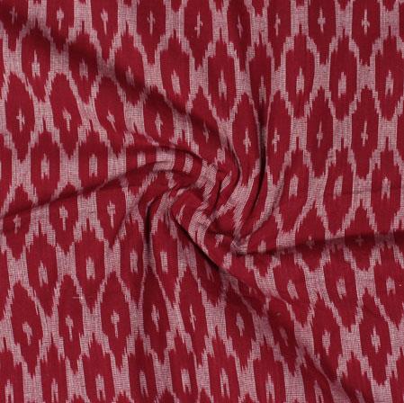 Maroon White Ikat Cotton Fabric-11053