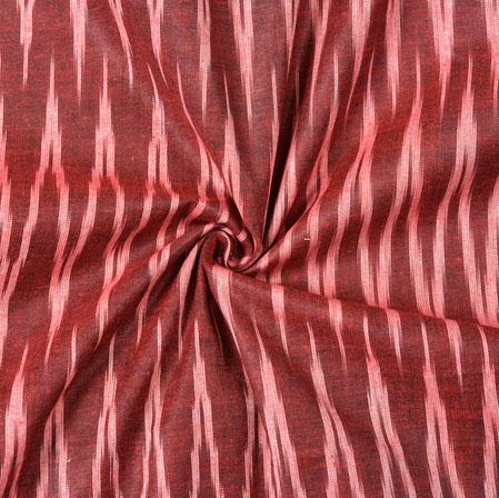 Maroon White Ikat Cotton Fabric-11085