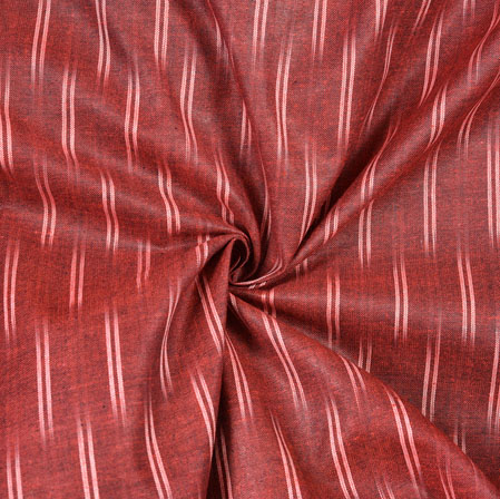 Maroon White Ikat Cotton Fabric-11096