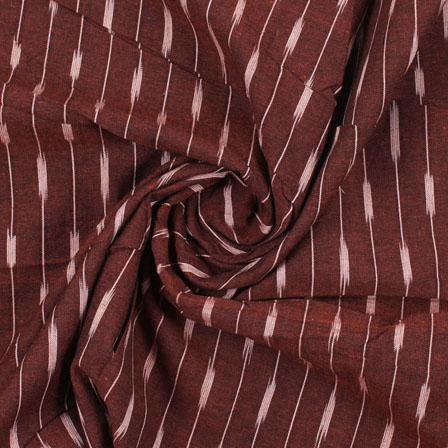 Maroon White Ikat Cotton Fabric-12213