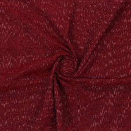 Maroon White Ikat Cotton Fabric-12335