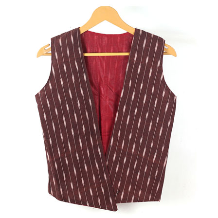 Maroon White Sleeveless Ikat Cotton koti jacket-12247