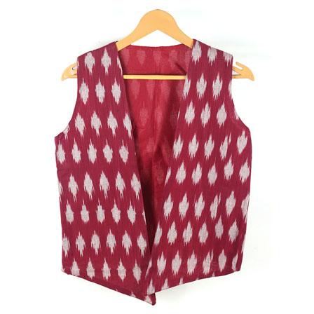 Maroon White Sleeveless Ikat Cotton koti jacket-12248