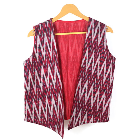 Maroon White Sleeveless Ikat Cotton koti jacket-12255