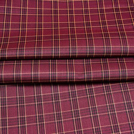 Maroon White Checks Wool Fabric-90172