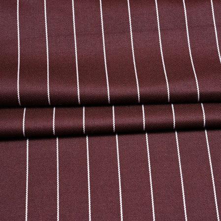Maroon White Stripe Wool Fabric-90193