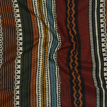 Maroon White and Black Block Print Cotton Fabric-14584