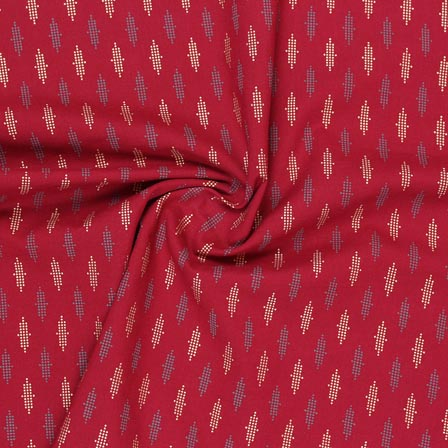 Maroon White and Blue Block Print Rayon Fabric-14892