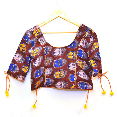Maroon-White and Blue Buddha Kalamkari Print Cotton Blouse-30009