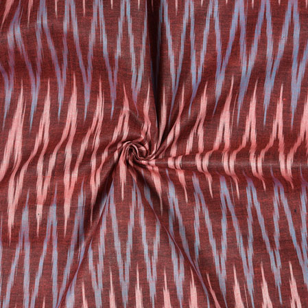 Maroon White and Gray Ikat Cotton Fabric-11082