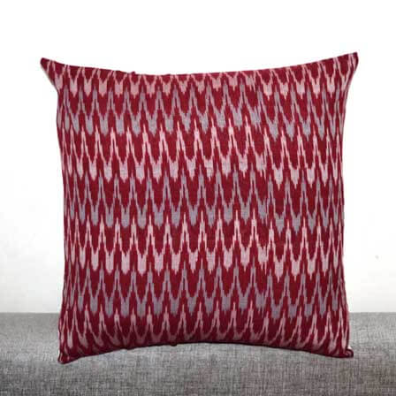Maroon White and Gray Zig Zag Pattern Ikat Cushion Cover
