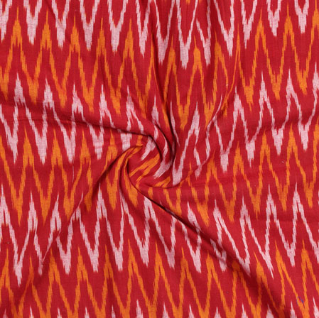 Maroon White and Yellow Ikat Cotton Fabric-11056