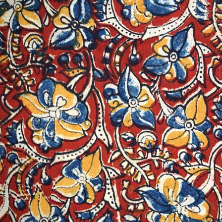 Maroon Yellow Beige Green Paisley and Floral Hand Painted Cotton Kalamkari Fabric