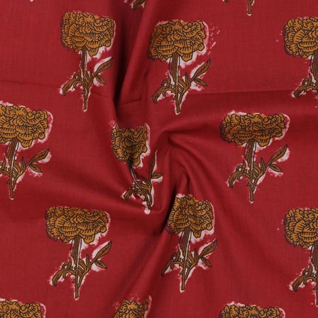 Maroon Yellow Block Print Rayon Fabric-14899
