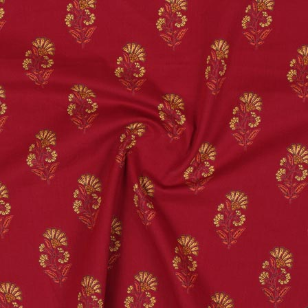 Maroon Yellow Block Print Rayon Fabric-14906