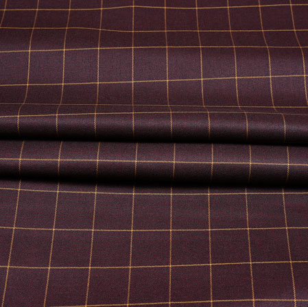 Maroon Yellow Checks Wool Fabric-90216