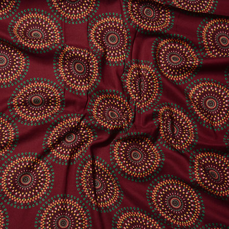 Maroon Yellow and Green Block Print Cotton Fabric-14580