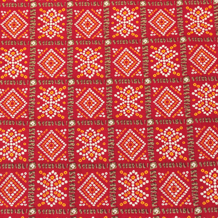 Maroon-Yellow and White Square Kalamkari Cotton Fabric-10016