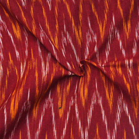 Maroon-Yellow and White Zig-Zag Pattern Ikat Fabric-12004