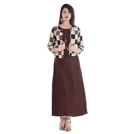Maroon and Beige 3/4 Sleeve Cotton Jacket With Cut Sleeve Rayon Kurti-3109