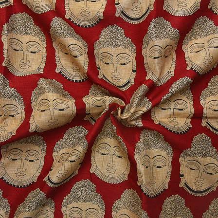 Maroon and Cream Buddha Face Design Kalamkari Manipuri Silk-16043