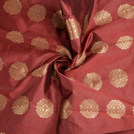 Maroon and Golden Brocade Silk Fabric-8578