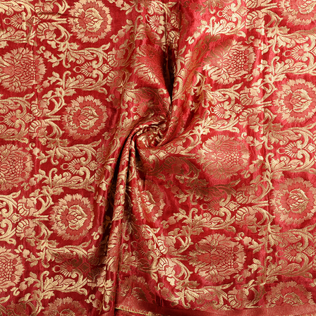Maroon and Golden Floral Brocade Banarasi Fabric-8658