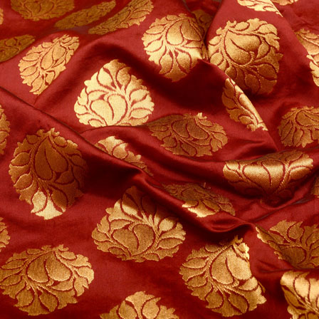 Maroon and Golden Floral Shape Brocade Silk Fabric-5357