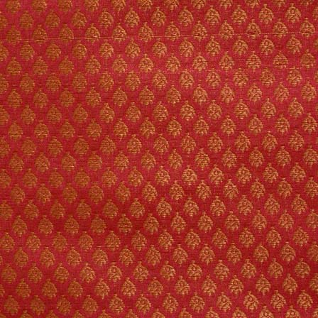 Maroon and Golden Leaf Pattern Brocade Silk Fabric-1108