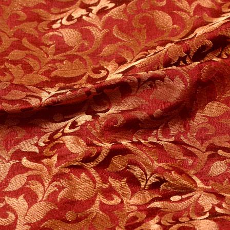 Maroon and Golden Leaf Pattern Chanderi Silk Fabric-5455