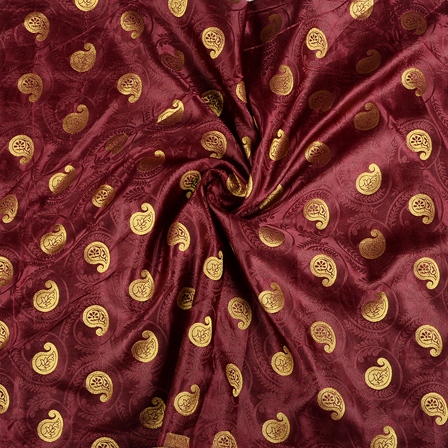 Maroon and Golden Paisley Satin Brocade Fabric-8585
