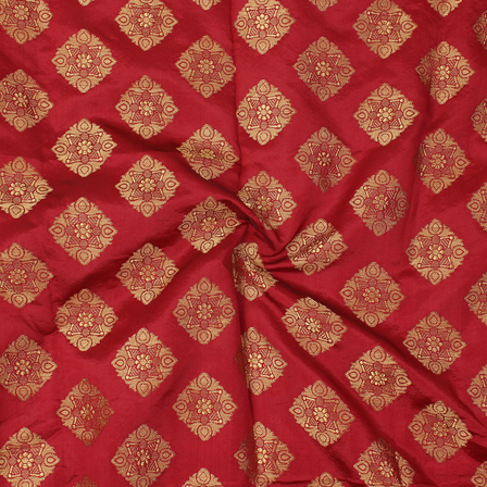 Maroon and Golden Square Design Brocade Silk Fabric-8336