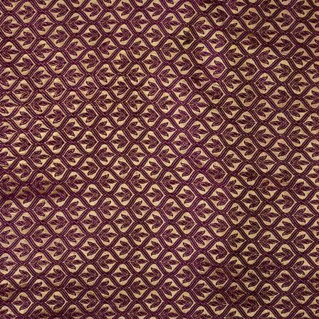 Maroon and Golden leaf pattern brocade silk fabric-4603