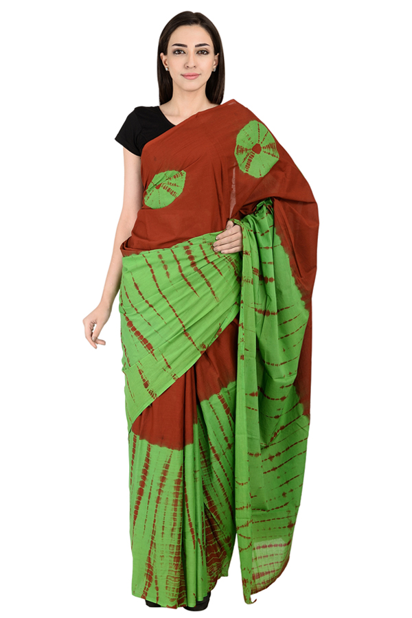 Maroon and Green Cotton Tie Dye Print Saree-20133