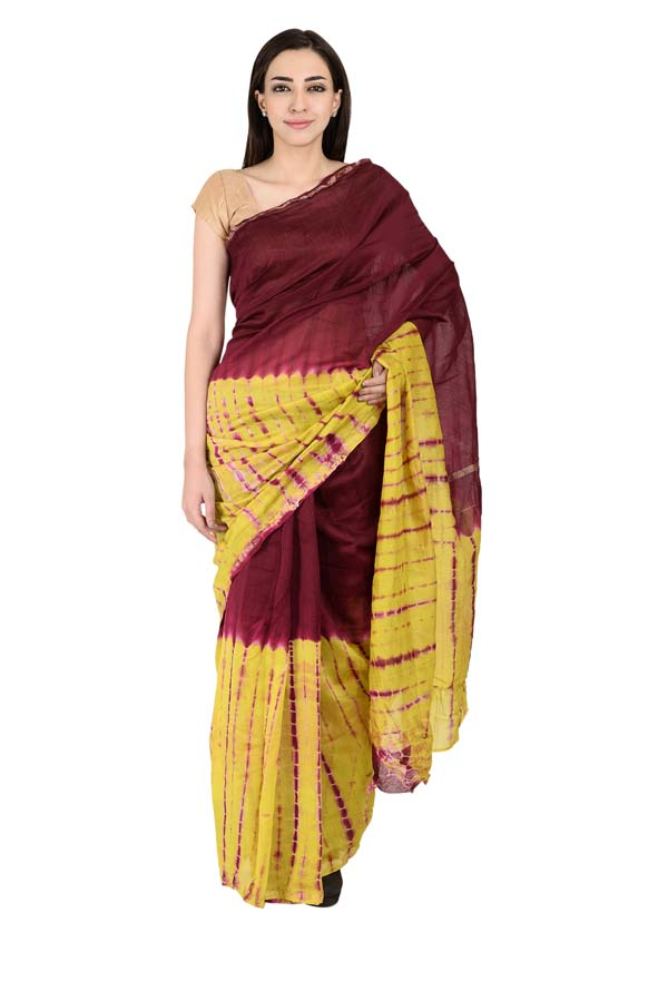 Maroon and Yellow Tie Dye Chanderi Print Saree-20140