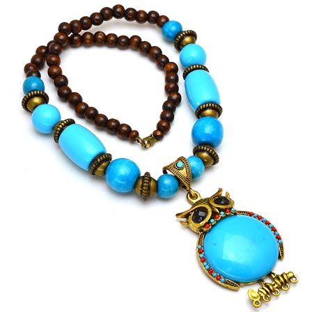 Maroon and Sky Blue pearls Drop Neckless with Owl Pattern Pandent for Women