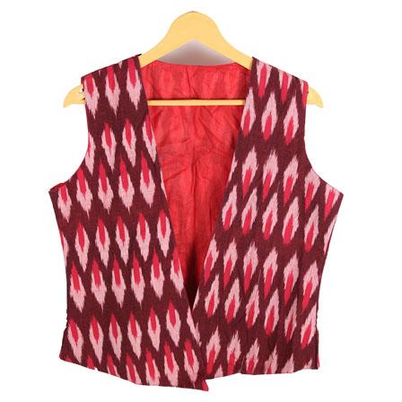 Maroon and White Cut Sleeve Ikat Cotton Koti Jacket-12222