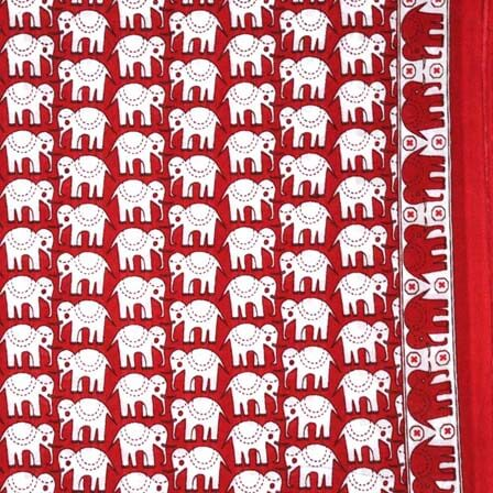 Maroon and White Elephant Block Print Cotton Fabric