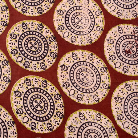 Maroon and yellow circular kalamkari fabric-5163