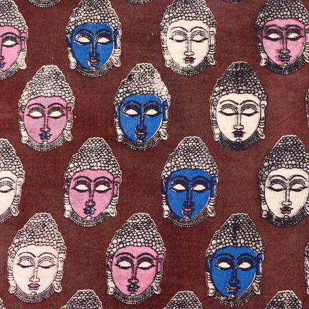 Maroon-blue and pink small buddha printed cotton kalamkari fabric 4470