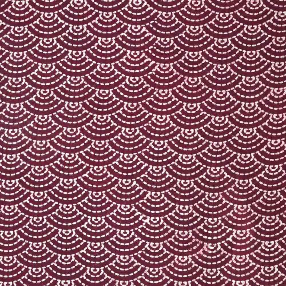 Maroon unique Ajrakh Hand Print Indian cotton Fabric
